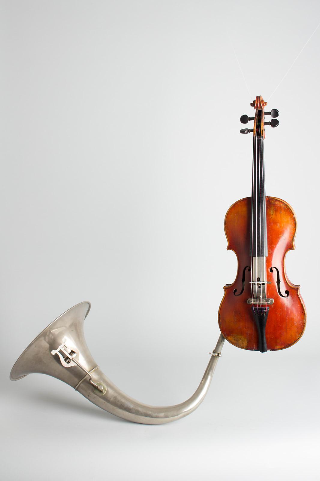 Jar Krumphans Praha  Resophonic Violin,  c. 1900, black hard shell case.