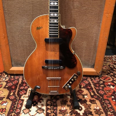 Vintage 1959 Hofner Club 60 Natural Blonde Electric Guitar w/ Bound Ebony Flame for sale