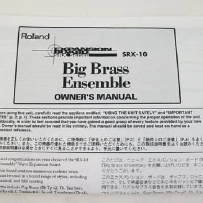 Notice Roland SRX-10 Big Brass Ensemble (Manual)