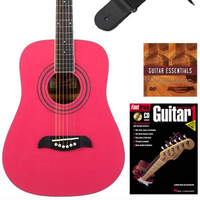 Oscar Schmidt OG5 3/4-Size Kids Acoustic Guitar - Pink Learn-to-Play Bundle with Tuner, Strap, Picks, Instructional Book, DVD, and Austin Bazaar Polishing Cloth for sale