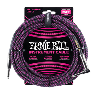 Ernie Ball 25ft Straight/Angle Braided Black/Purple Braided for sale