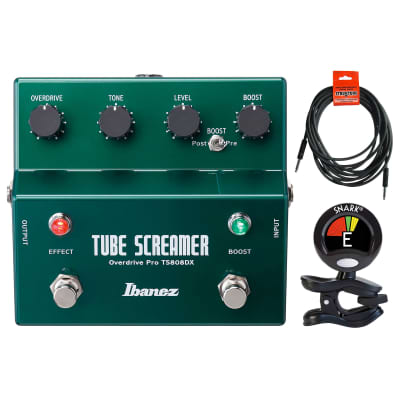 Ibanez TS808DX Tube Screamer Booster/Overdrive Pedal w/ Tuner & Instrument Cable