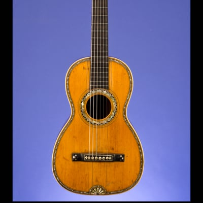 Markneukirchen Martin-Style, Parlor Guitar (12 fret to body) with 'Fan-Tail' abalone inlay 1850 Mahogany