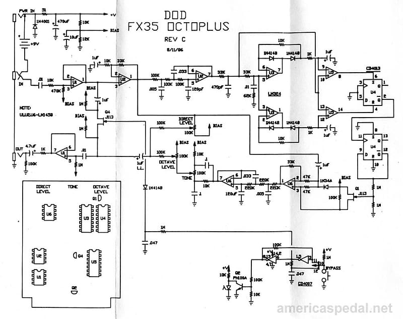 1989 DOD FX35 Octoplus Octave Generator Guitar Effects Pedal with Battery Octave Pedal Schematic on
