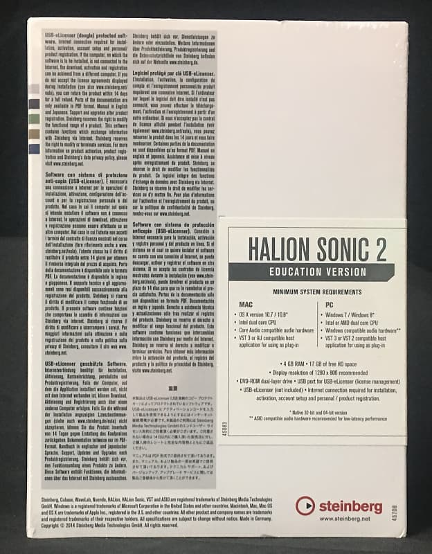 New Steinberg HALion Sonic 2 Educational - BOXED - Free Upgrade to Version 3