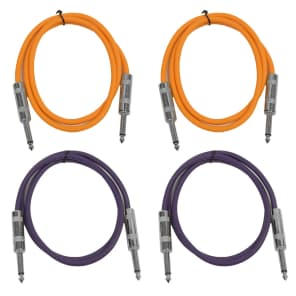 """Seismic Audio SASTSX-3-2ORANGE2PURPLE 1/4"""" TS Male to 1/4"""" TS Male Patch Cables - 3' (4-Pack)"""