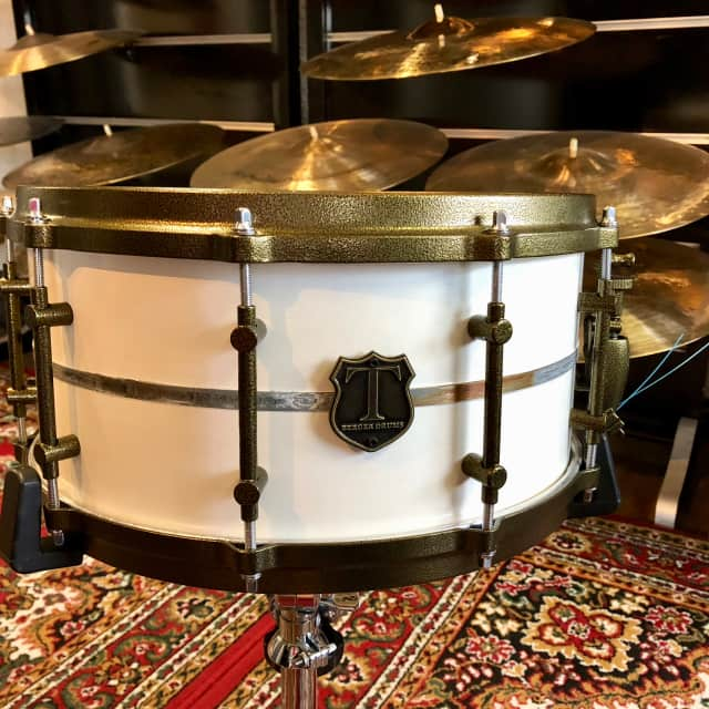 T Berger Drums White Metal Cast Steel Snare 14x7 image