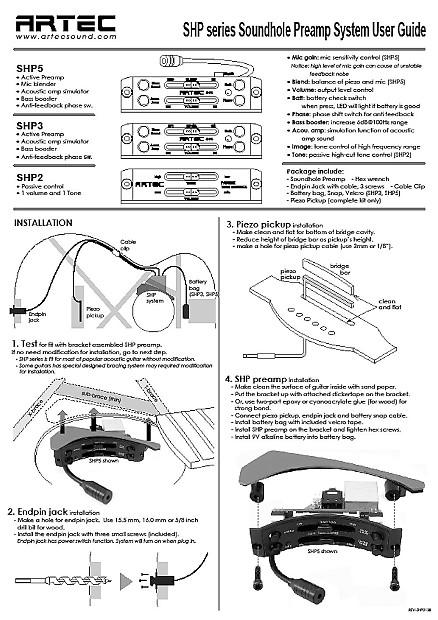 artec shp5 eq soundhole pre amp controller  u0026 mic blender