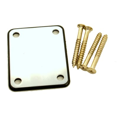 Replacement Metal Neck Plate For bolt-on neck Guitars ,w/4 Screws ,Chrome