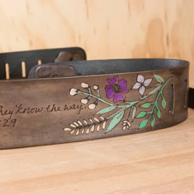 Moxie & Oliver Wildflower Guitar Strap 2017 Purple and Green