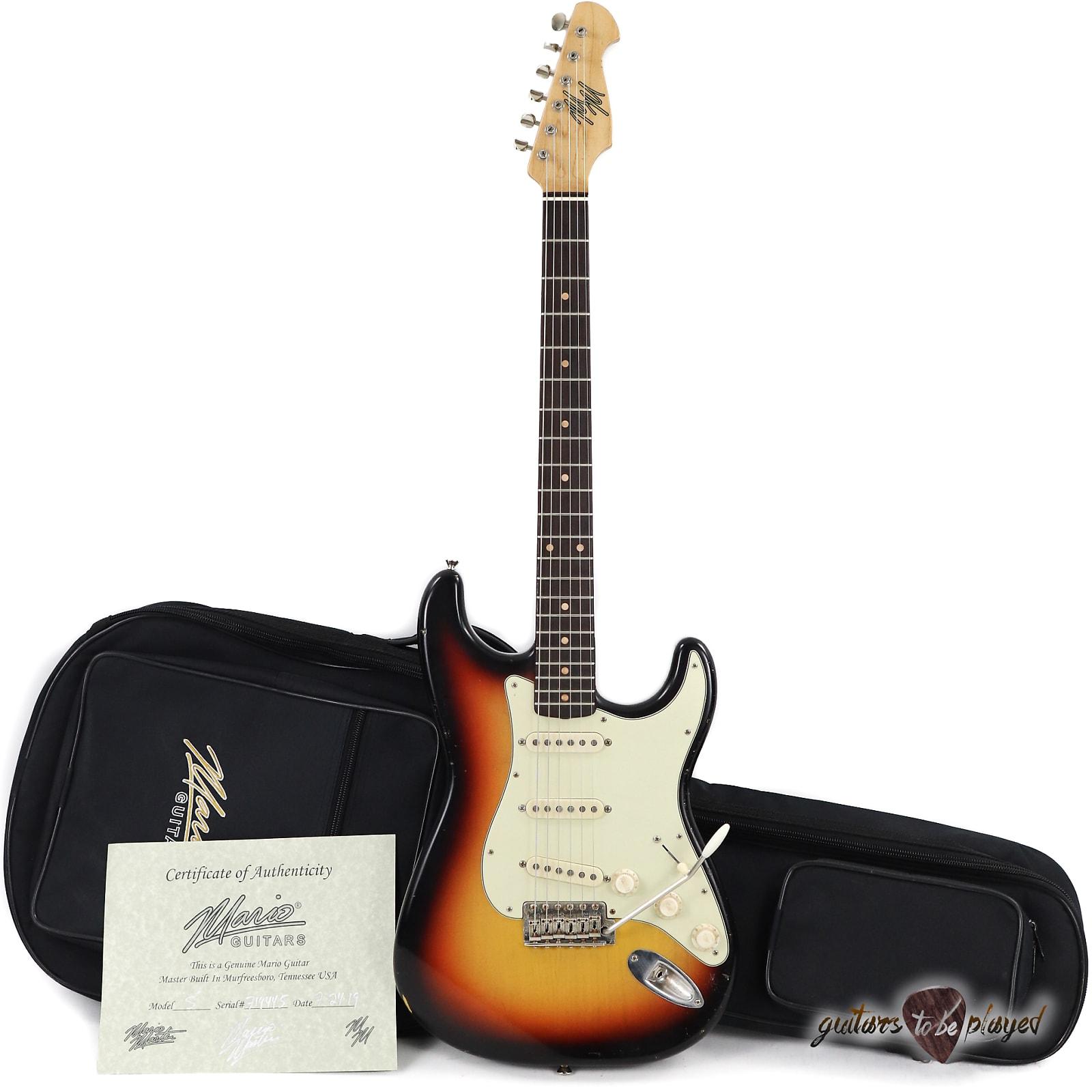 Mario Martin S-Style Guitar w/ Brazilian Rosewood Fingerboard – 3-Tone Sunburst