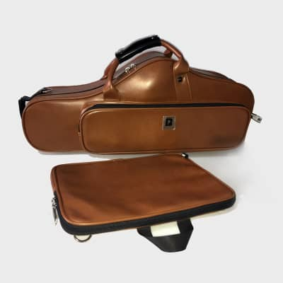 Bropro Wooden Curved Alto saxophone case Brown - Royal Style 2020 Brown, PU Leather