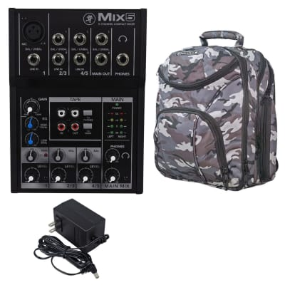 Mackie Mix5 Compact 5 Channel Mixer + CAMOPACK Carry Bag