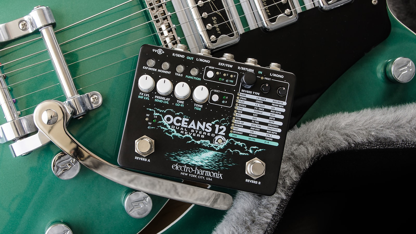 Electro-Harmonix EHX Oceans 12 Dual Stereo Reverb Effects Pedal