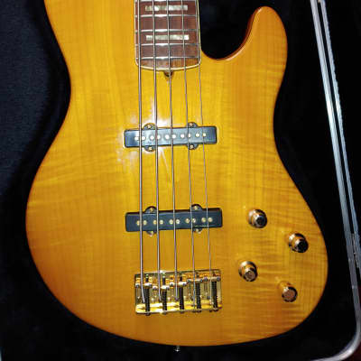 Fender American Deluxe Jazz Bass FMT V 2002 Amber for sale
