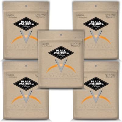 Black Diamond Guitar Strings 5 Pack Acoustic Medium Phosphor Bronze N600M 13-56 for sale