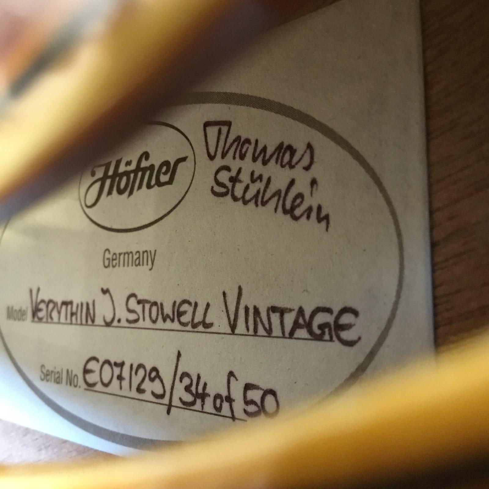 Hofner Verythin John Stowell Vintage #34/50