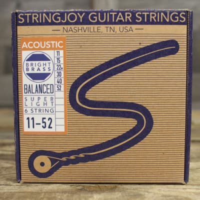 Stringjoy Brights - Super Light Gauge (11-52) 80/20 Bronze Acoustic Guitar Strings