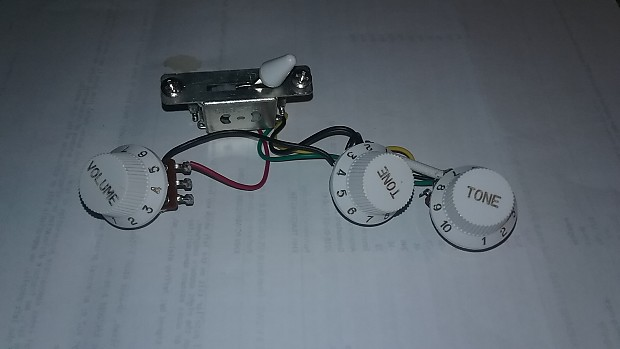 5-way Switch, 500k Pots, s & Mint Green Pickguard Wiring Harness for on