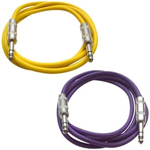"Seismic Audio SATRX-6-YELLOWPURPLE 1/4"" TRS Patch Cables - 6' (2-Pack)"