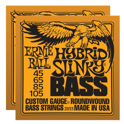 ERNIE BALL Hybrid Slinky Nickel Wound Bass Strings (2833) - 2 Pack