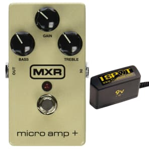 MXR M233 Micro Amp+ Bundle w/ Truetone 1 Spot Space Saving 9v Adapter