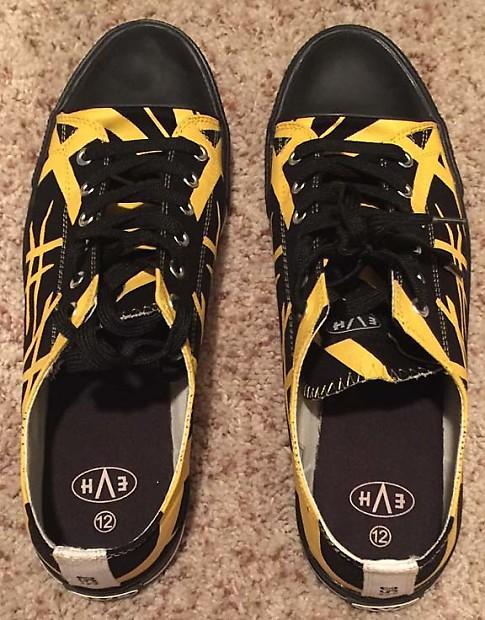 c09e90e67a76d6 Description  Shop Policies. Van Halen EVH Black   Yellow Striped Low Top  Sneaker Shoes