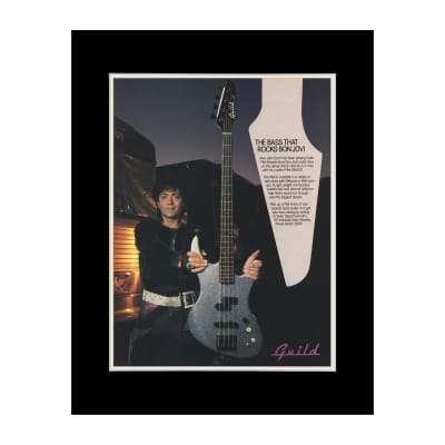 1987 Alec John Such for Guild Bass Guitars Original Magazine Ad Double Matted for 11 x 14 Frame
