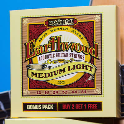 Ernie Ball 3503 Bonus Pack Earthwood Medium Light 80/20 Bronze Acoustic Guitar Strings - 12-54 Gauge for sale