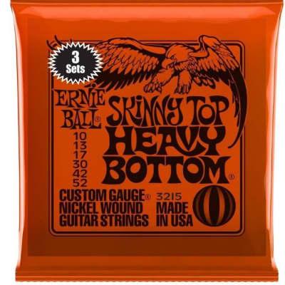 Ernie Ball 3215 Skinny Top Heavy Bottom Nickel Wound Electric Guitar Strings 2215 3-Pack (10-52)