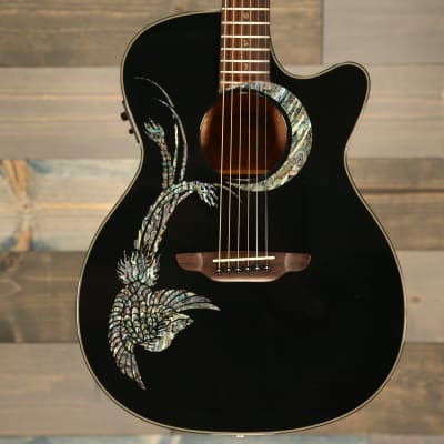 Luna Guitars Fauna Phoenix Acoustic Electric Guitar- Black for sale