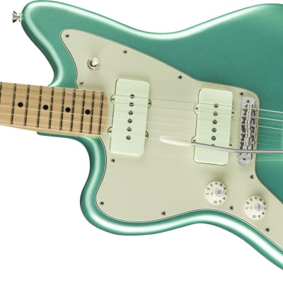 Fender American Pro Left-Handed Jazzmaster Electric Guitar, Maple Fingerboard, Mystic Seafoam W Elite Case for sale