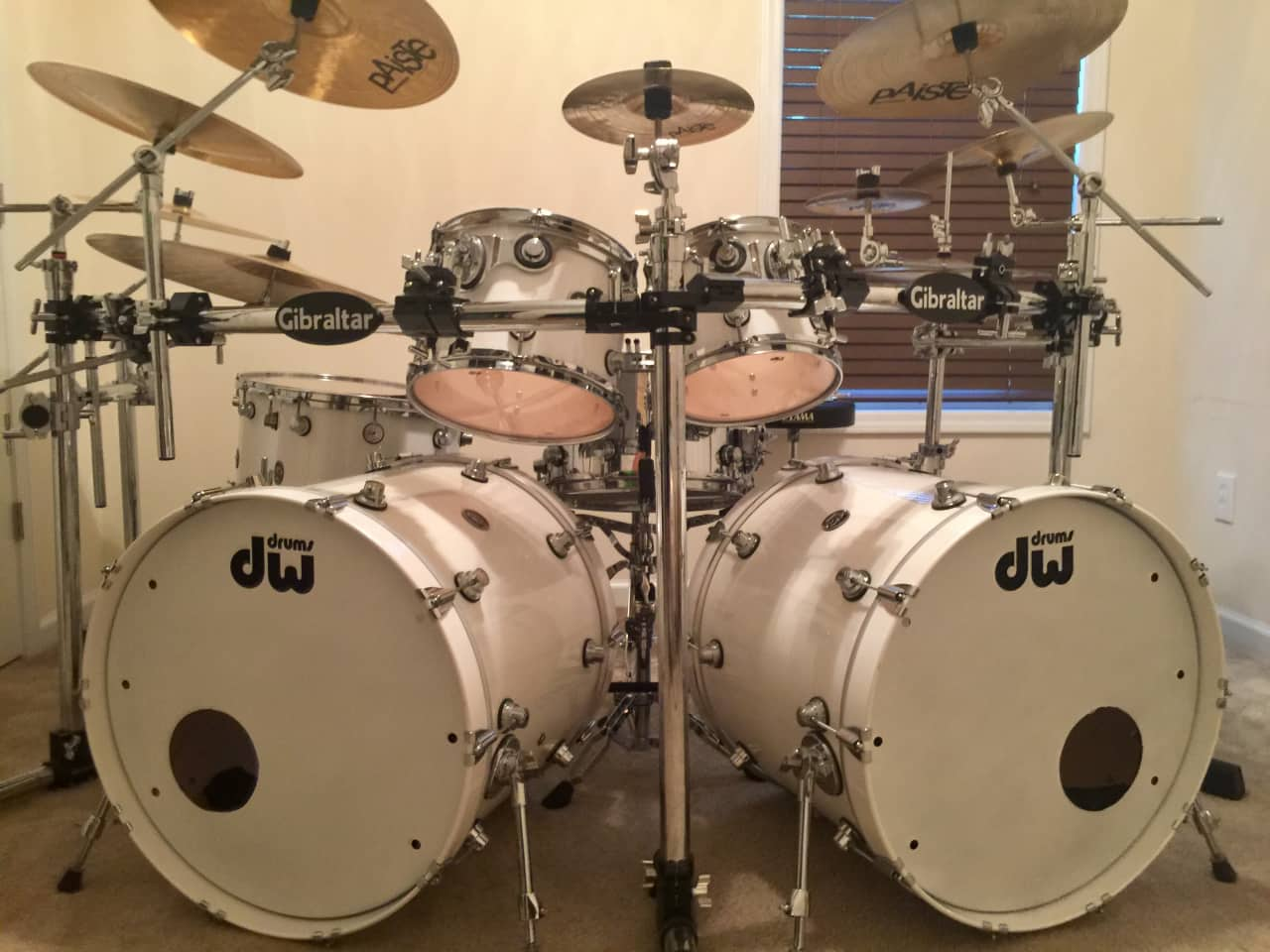 dw performance series double bass drum set quotwhite reverb