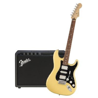 Fender Player Stratocaster HSH Buttercream Pau Ferro & Fender Mustang GT 40 Bundle for sale