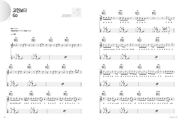 Acoustic Guitar Collection For Bts Melody Chord Lyrics Score Reverb
