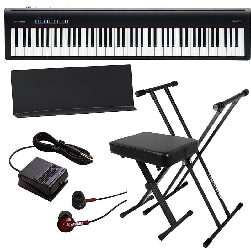 roland fp 30 digital piano black bonus pak pro sound gear reverb. Black Bedroom Furniture Sets. Home Design Ideas