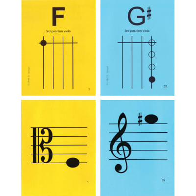 "Notes & Strings Notes & Strings Viola 3rd Position 4.25""X5.5"" Regular Size Laminated Flashcards"