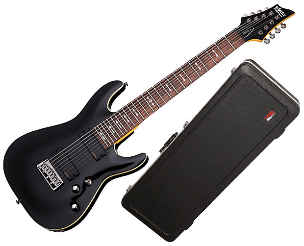 schecter omen 8 8 string electric guitar black w hard shell reverb. Black Bedroom Furniture Sets. Home Design Ideas
