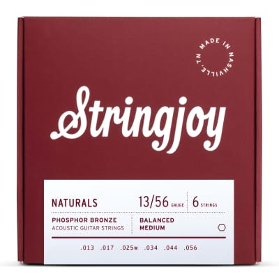 Stringjoy Naturals  Medium Gauge (13-56) Phosphor Bronze Acoustic Guitar Strings