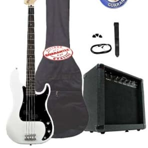 Electric Bass Guitar Pack with 20 Watts Amplifier, Gig Bag, Strap, and Cable, White for sale