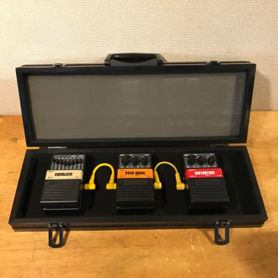 Awesome 80s Arion 3 pedal set and Arion case .  MEQ-1, SOD-1, SDI-1 plus two yellow patch cables for sale
