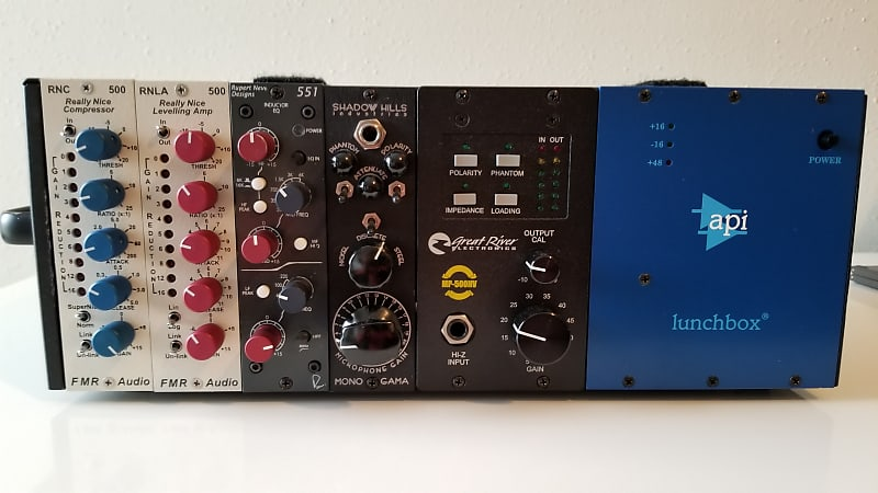 API, Shadow Hills, Neve, FMR,Great River 500 Series lunchbox loaded with 5  modules 2013-2019 Black,