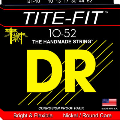 DR Tite-Fit Electric Bright & Flexible Nickel/Round Core 10-52  10 13 17 30 44 52