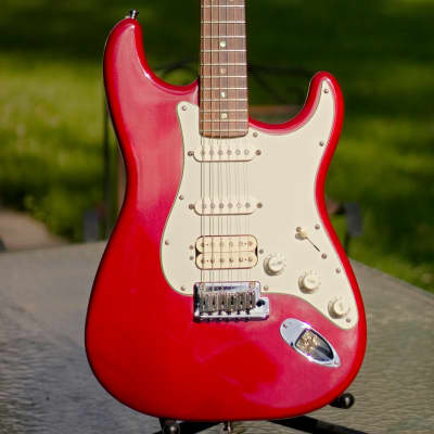 Fender American Deluxe Fat Stratocaster HSS 1999 Crimson Red Transparent for sale