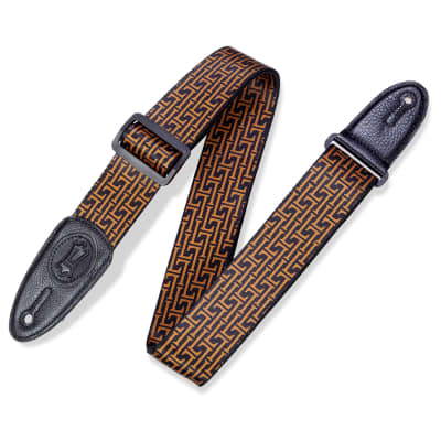 Levys 2 Inch Print Guitar Strap Polyester, Signature L Black And Gold