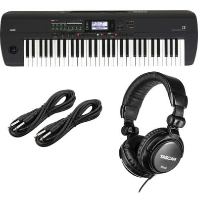 Korg i3 Arranger Keyboard (Matte Black), Tascam TH02, (2) 1/4 Cables Bundle