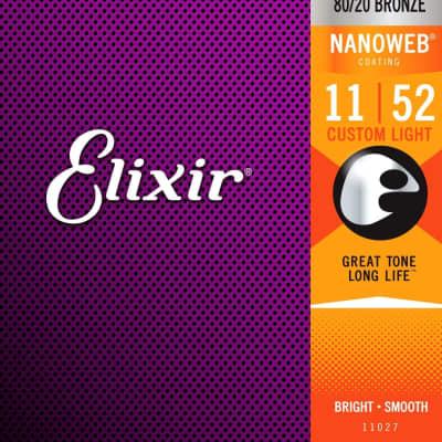 Elixir 80/20 Bronze Nanoweb Coated 11-52 Acoustic Guitar Strings Custom Light
