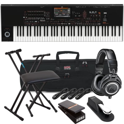 Korg Pa4X-76 76-key Professional Arranger, Keyboard Stand, Bench, Korg EXP2 Pedal, Sustain Pedal, AT ATH-M50X, (4) 1/4 Cables, Gator GKB-76 Bundle
