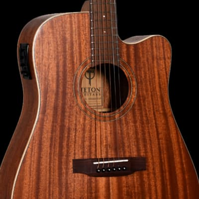 Teton STS103CENT-OP  Dreadnought Acoustic-Electric Guitar & Hardshell Case, Solid Mahogany Top