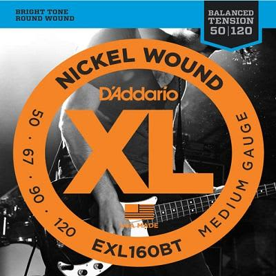 D'Addario XL Balanced Tension Bass Strings EXL160BT Long 50 - 120